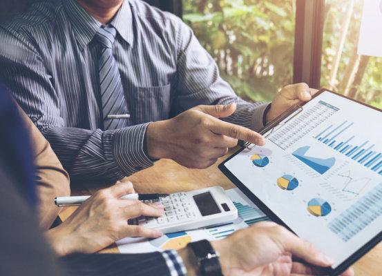 Financial Planner Reviewing Market Data